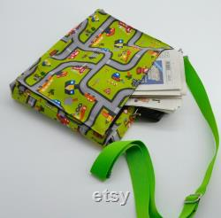 Colorful notebook bag with carrying handle and shoulder strap. Guaranteed handmade unique piece.