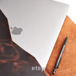 Distressed Cognac Hand Stitched Leather MacBook Case, Walker MacBook Case, Air 13 in Retina, Pro 15 in, Pro 16 in. Travel Apple Laptop Cover