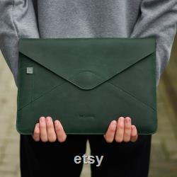 Green MacBook Pro 13 inch Sleeve Leather Laptop Cover Personalized Birthday Gift for Men Macbook Pro 15 2018 Case Engraved Mac Sleeve 2020