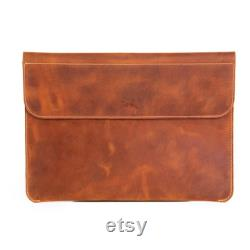 Handcrafted Leather Laptop Sleeve 15 Inch 16 inch MacBook Pro Case Magnetic Button
