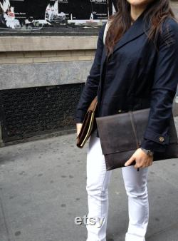Handmade iPad case, Minimalist clutch, Dark brown document holder, Hand stitched tablet clutch, Leather iPad sleeve, Made in NY
