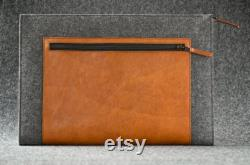 Laptop Felt and Leather Case Hand-made