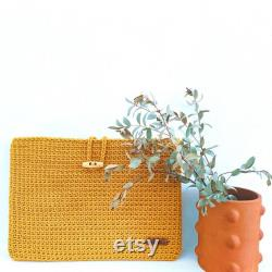 Laptop cover, crocheted rope wire, handmade, ideal for Macbook and 12' to 14-inch computer, made in France