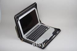 Leather Zipper Macbook 12 inch Sleeve Cover with Charger Mouse Pockets,Carrying Cover for Apple Macbook Business,Macbook 12 Portfolio Bag