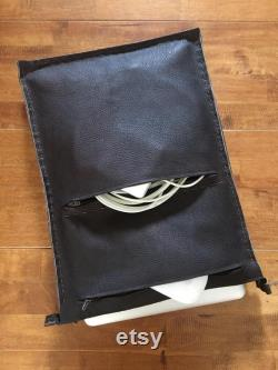 Leather laptop case, padded, with zippers