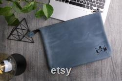 Leather macbook air 13 case with zipper,Blue leather laptop pouch,Tablet sleeve fits macbook pro 15,Surface laptopsleeve,A4 document holder
