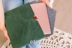 Leather sleeve for Macbook,Leather sleeve for laptop,Leather laptop sleeve,Laptop sleeve leather,Green genuine leather,Laptop case leather