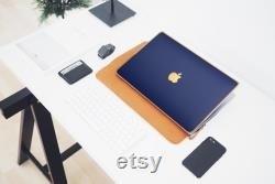 Luxury Edition Brushed Dark Blue MacBook Air M1 Pro M1 Hard Case with Gold Accents. Stylish Laptop Cover A2337 Case, A2338 Case