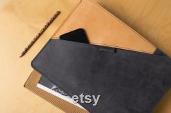 MacBook 12 inch case MacBook 12 inch leather case natural wool felt lining with extra space for notebook, accessories, business cards