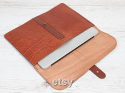 MacBook 12 leather case. Orange leather case for MacBook Air 11. Leather portfolio. Laptop leather case. Personalized gift