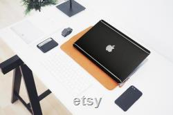 MacBook Black Brushed Steel Vinyl Case, Mac Air Pro with Silver Accent. Unique and Stylish Laptop Case, the best Christmas Gift