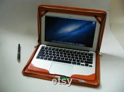 Macbook Air Leather Zipper Portolio Case,Sleeve Briefcase with Paper Pocket for Macbook Air 11 inch 13inch Business Carrying Cover