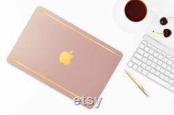 Macbook Case Pink Pearl w Satin Gold, Macbook Air 13, Macbook Pro 13 and more, Personalized Gift for Him, Present for Her, Christmas gift