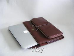 Macbook Pro Laptop Business Protect Case for Apple Macbook Pro,Executive Carrying full grain leather Briefcase with Charger Sleeve Cover