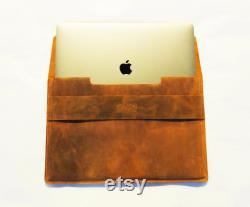 Monogrammed Macbook Sleeve 16, Leather Laptop Case, Personalized Laptop Holder, Hot Stamping Initials, Macbook Pro 16 Case, Gift For Her