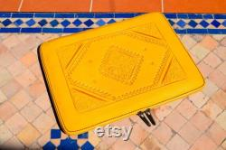 Moroccan Real Leather handmade Laptop cover 12 inch max, Yellow laptop sleeve, leather laptop case, gift for him or her, Leather Handbag