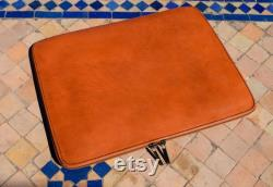 Moroccan Real Leather handmade Laptop cover 12 inch max, brown laptop sleeve, leather laptop case, gift for him or her, Leather tab cover