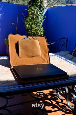 Moroccan Real Leather handmade Laptop cover 15 inch, Moroccan brown laptop sleeve, leather laptop case, gift for him or her, Leather Handbag