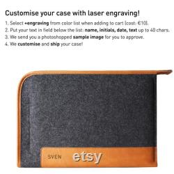 NEW MacBook Pro 13 M1 2020 Zip Folio Case Leather Wool Felt Personalised Case Laser Engraving Gift for Her Him GRAPHER COCONES