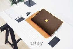 New MacBook Air 2020, MacBook Pro Brown Fine Grain Leather Satin Gold Luxury Edition Case, MacBook Stylish Laptop Cover