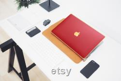 New MacBook Air 2020, MacBook Pro Red Leather Satin Gold Luxury Edition Case, MacBook Stylish Laptop Cover