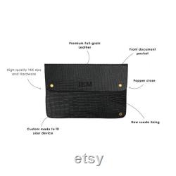 Personalized Leather Croc Print Macbook Laptop Case Sleeve, Macbook Pro, Pro Retina, and Air (11 , 12 , 13 , 15 )in Black Full Grain Leather
