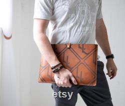 Personalized Leather Laptop Case Sleeve 13-15 Custom MacBook Laptop Cover Made in the USA with Genuine Full Grain Leather