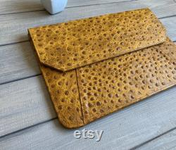 Personalized Leather MacBook 12 Inch Sleeve. Personalised Leather MacBook 12 inch case Made from Genuine Leather Ostrich Pattern Embossing,
