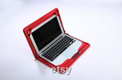 Red Macbook Air Business Zipper Sleeve Carrying Cover Protection Slim Portfolio Case with Paper pocket in Top leather for Apple Air Laptop