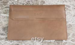 Valentines Day Gift For Him, Personalized Leather 16 Macbook Sleeve, Monogrammed Initials or Name, Custom Macbook Pro Case